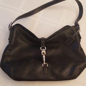 COACH - Black Leather Clasp Closure Shoulder Bag